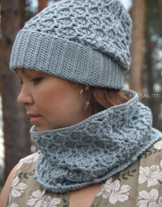 Set of hat and cowl gray color - 103 555x710