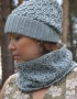 Set of hat and cowl gray color - 103 70x90
