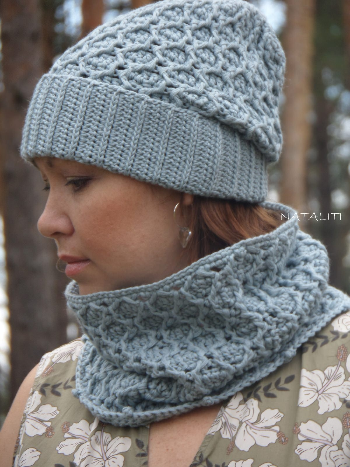Set of hat and cowl gray color - 103