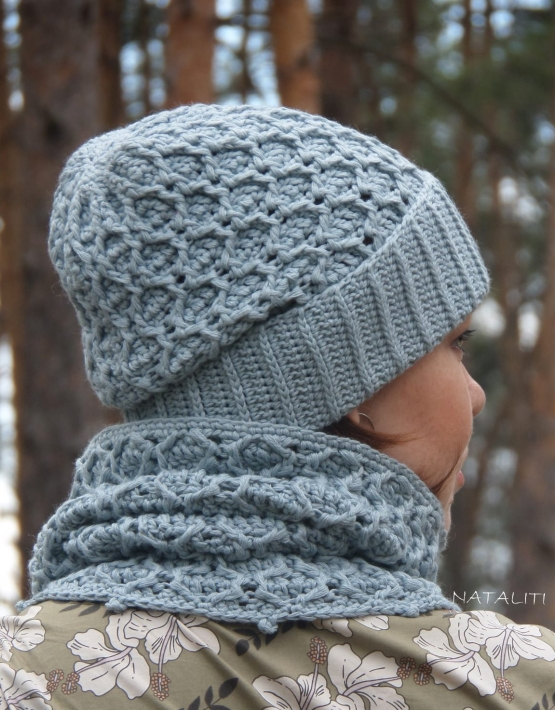 Set of hat and cowl gray color - 105 555x710
