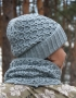 Set of hat and cowl gray color - 105 70x90