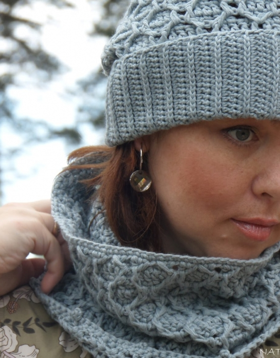 Set of hat and cowl gray color - 106 555x710