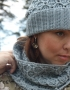 Set of hat and cowl gray color - 106 70x90
