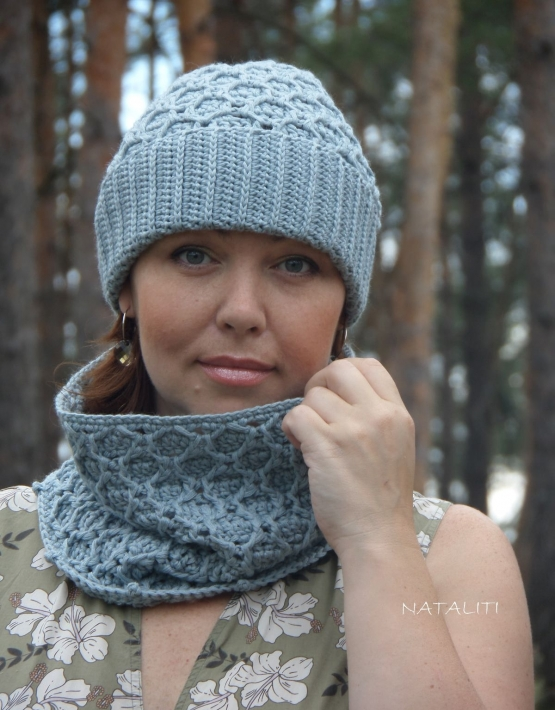 Set of hat and cowl gray color - 107 555x710