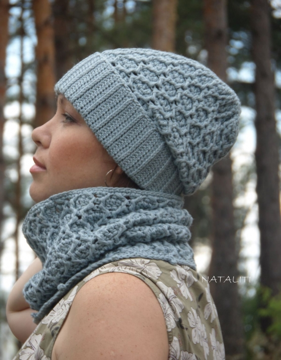 Set of hat and cowl gray color - 108 555x710