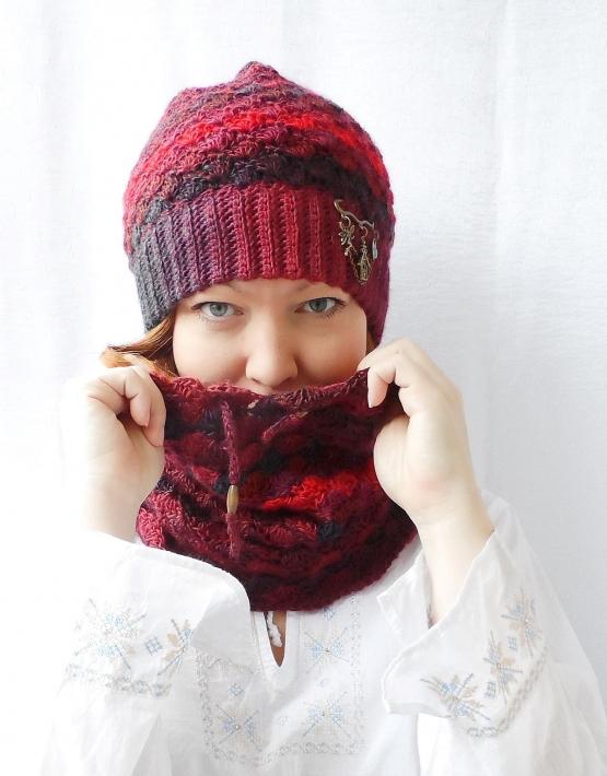 Set of hat and cowl red melange - 11 555x710