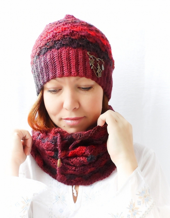 Set of hat and cowl red melange - 12 555x710