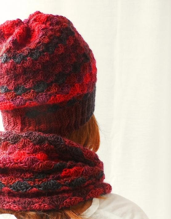 Set of hat and cowl red melange - 14 555x710