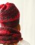 Set of hat and cowl red melange - 14 70x90