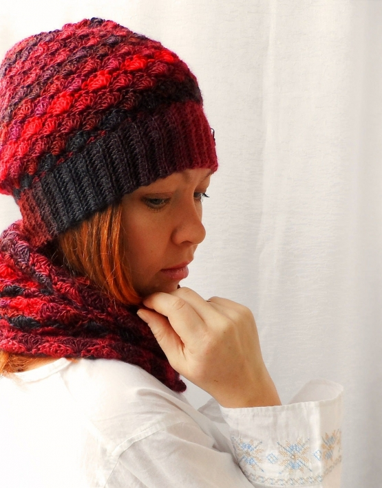 Set of hat and cowl red melange - 15 555x710