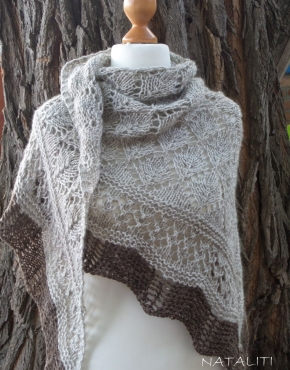 Shawl with brown lace - 2348 290x370