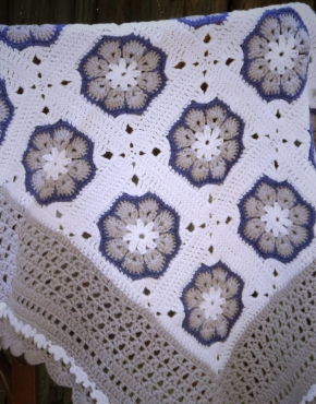 Knitted baby blanket Lavender-white - 703 290x370