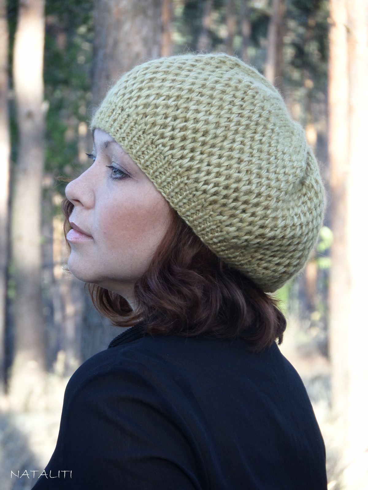 Knitted beret - Gold 6