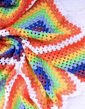 Knitted baby blanket rainbow square - PLED 266 290x370