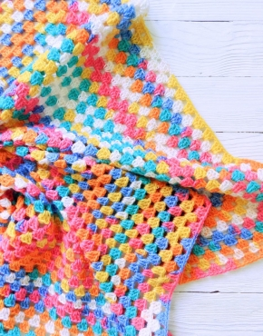 Knitted baby blanket multicolor - PLED 282 290x370