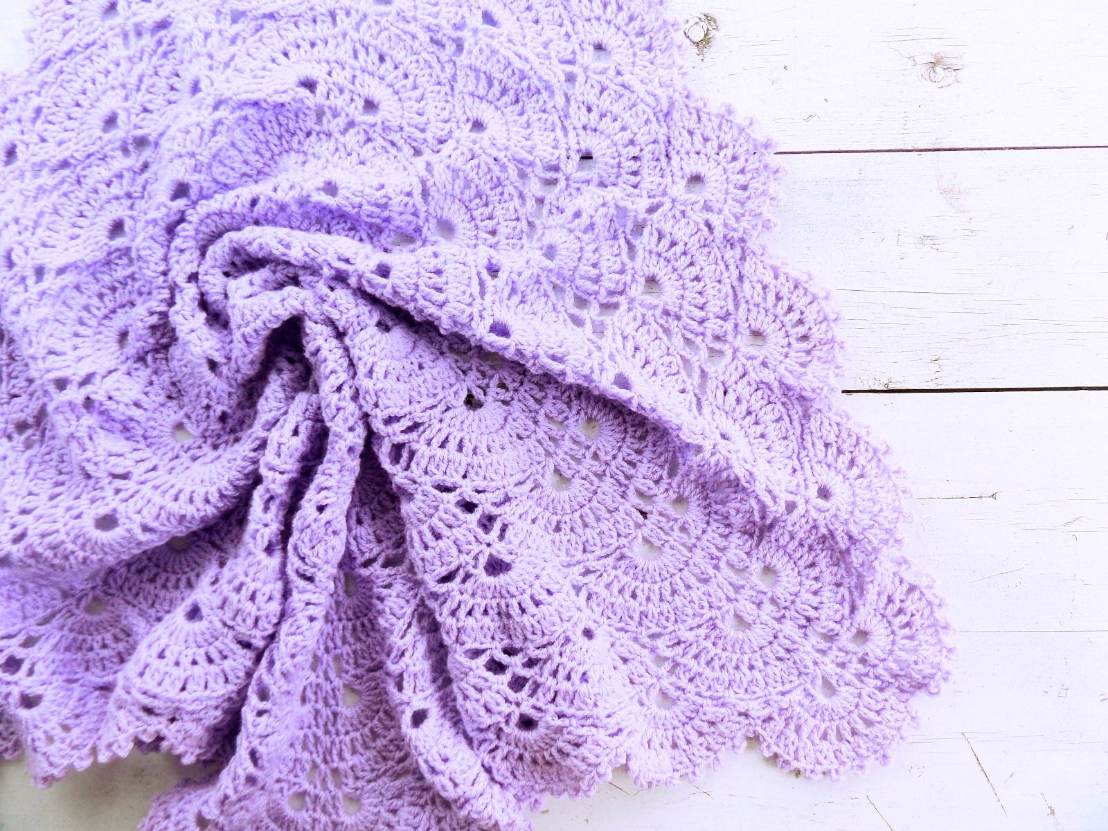Knitted baby blanket Lavender - PLED 286