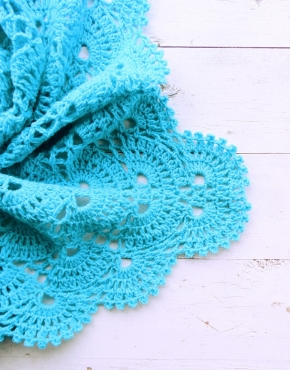 Knitted baby blanket turquoise - PLED 295 290x370