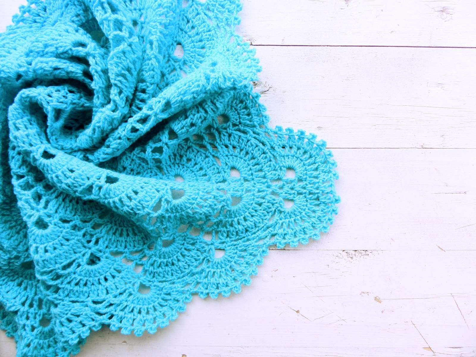 Knitted baby blanket turquoise - PLED 295