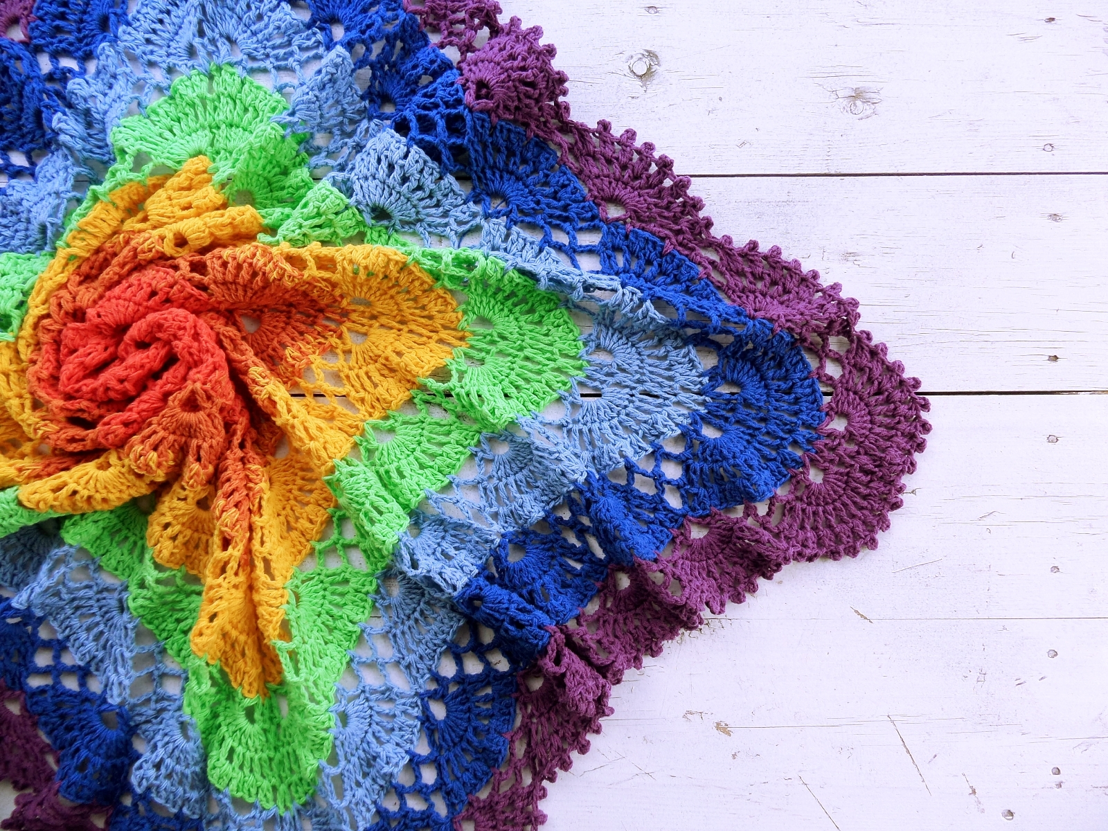 Knitted baby blanket rainbow - PLED 303