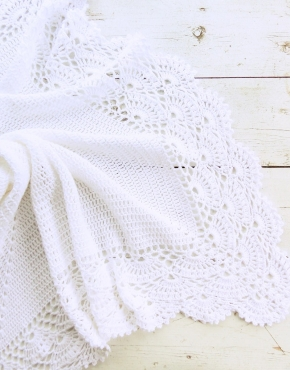 Knitted baby blanket white - PLED 313 290x370
