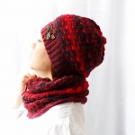 Set of hat cowl burgundy color - granet 1 150x150