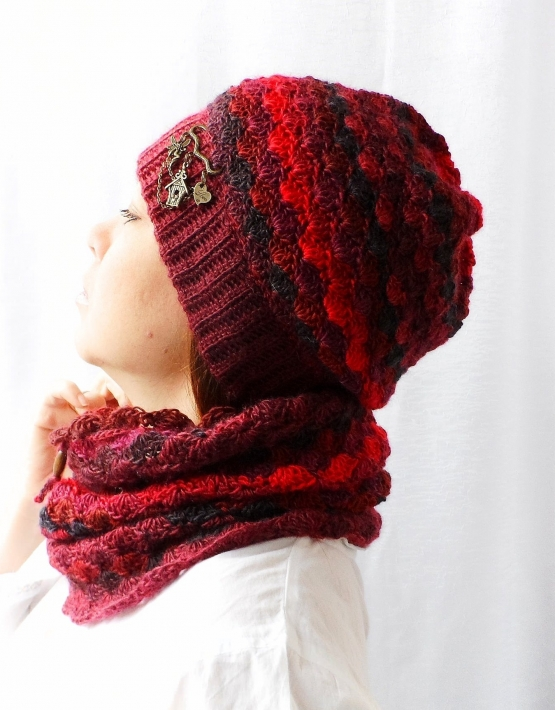 Set of hat and cowl red melange - granet 1 555x710