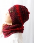 Set of hat and cowl red melange - granet 1 70x90