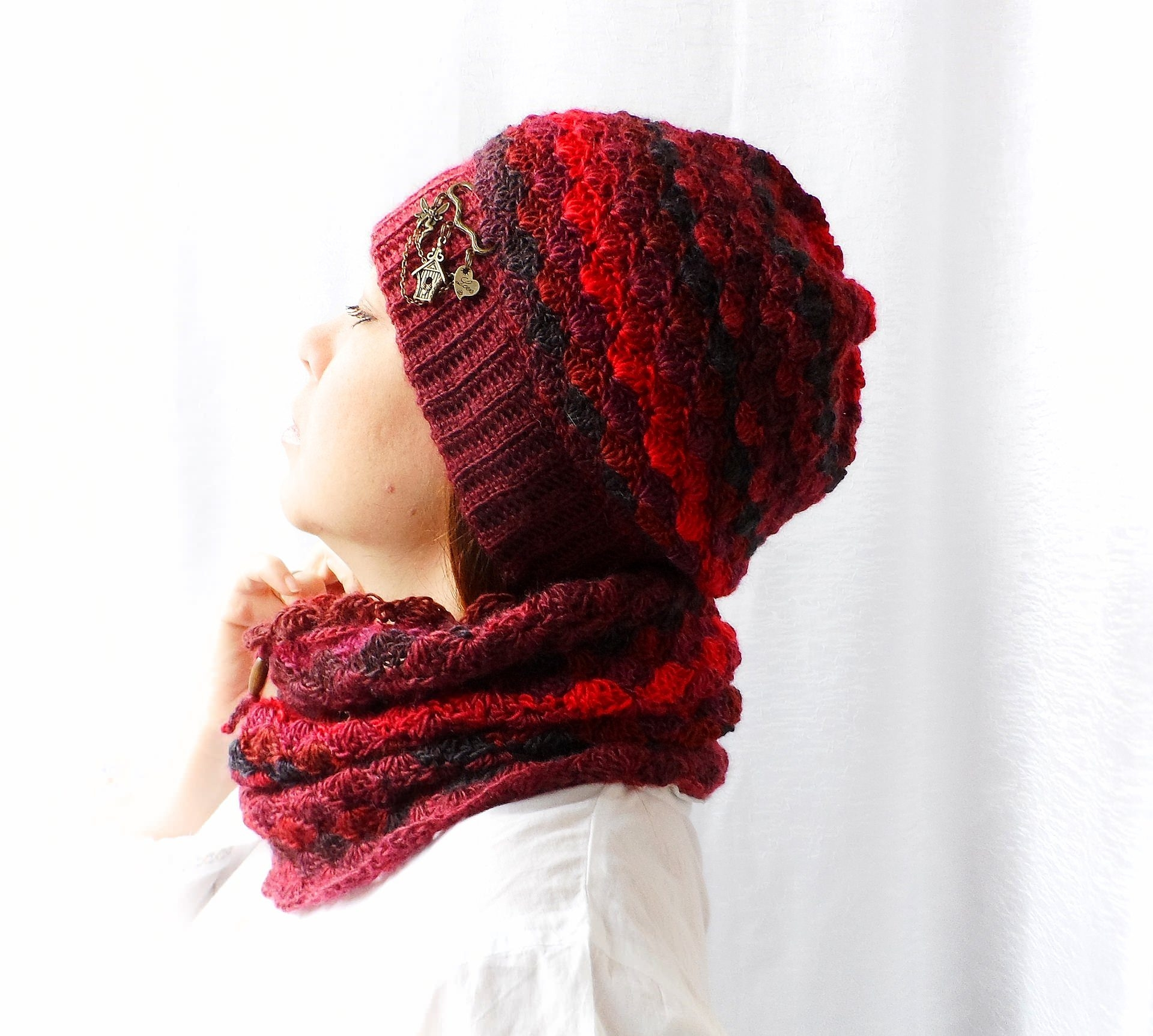Set of hat and cowl red melange - granet 1