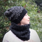 Set of hat and cowl red melange - midnigth 11 150x150