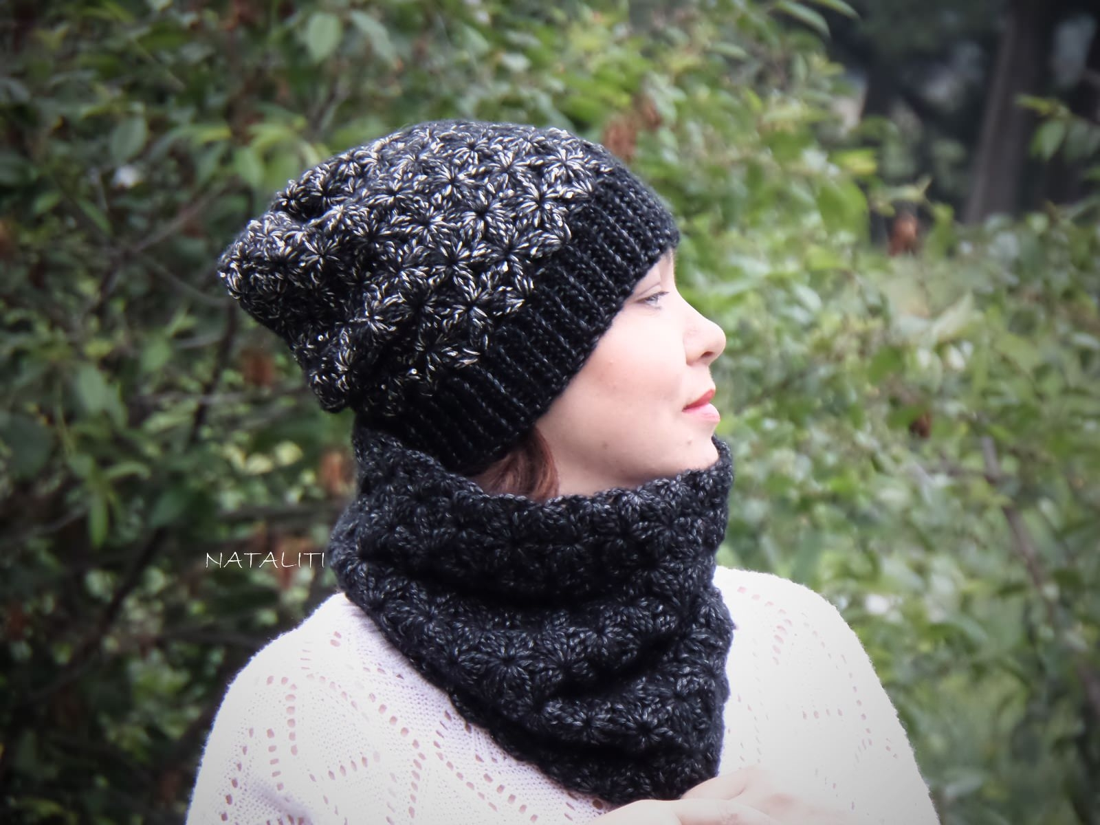 Set of hat cowl burgundy color - midnigth 11