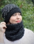 Set of hat cowl burgundy color - midnigth 13 70x90