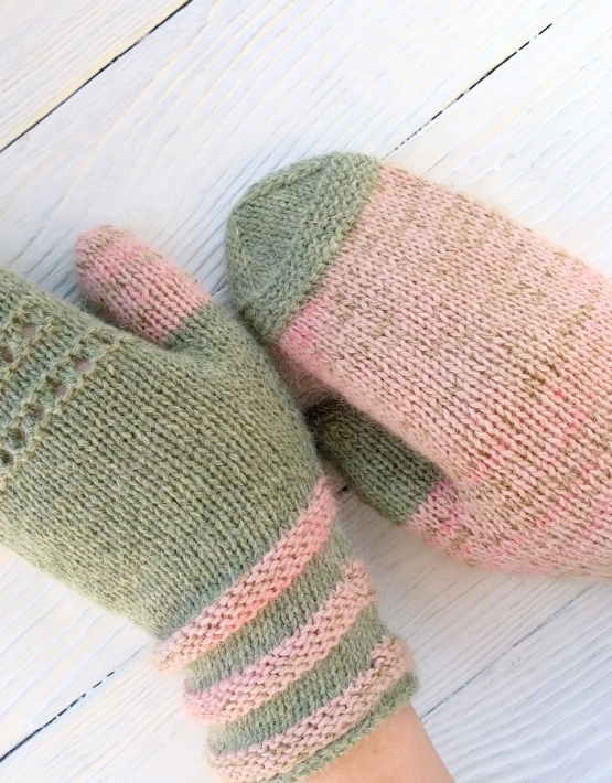 Mittens Miracle green-rose - mitenki 78 555x710