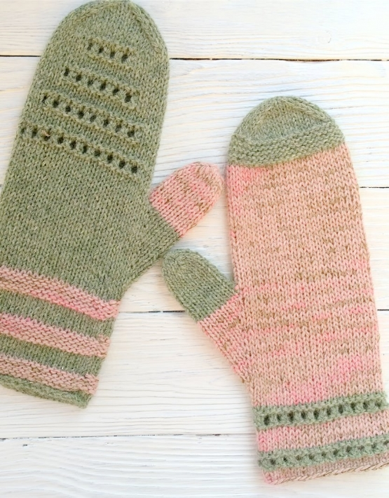 Mittens Miracle green-rose - mitenki 80 555x710