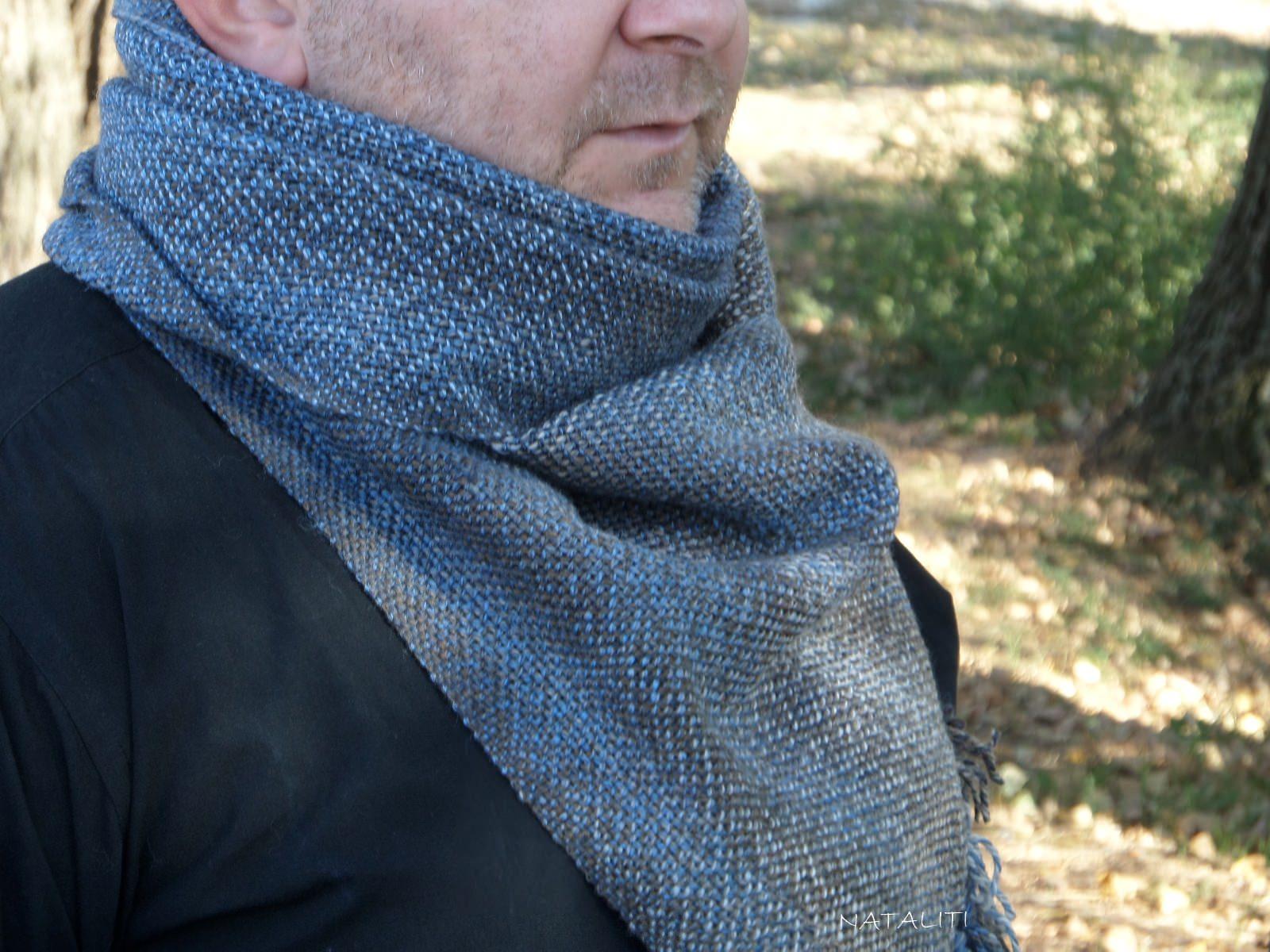 Scarf hand weaving denim - tkanye sharfy 29