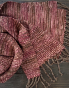 Scarf hand weaving brown color - tkanye sharfy 312 290x370
