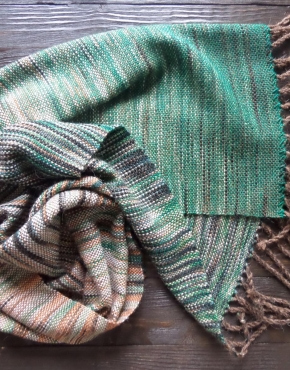 Scarf hand weaving green-brown - tkanye sharfy 316 290x370