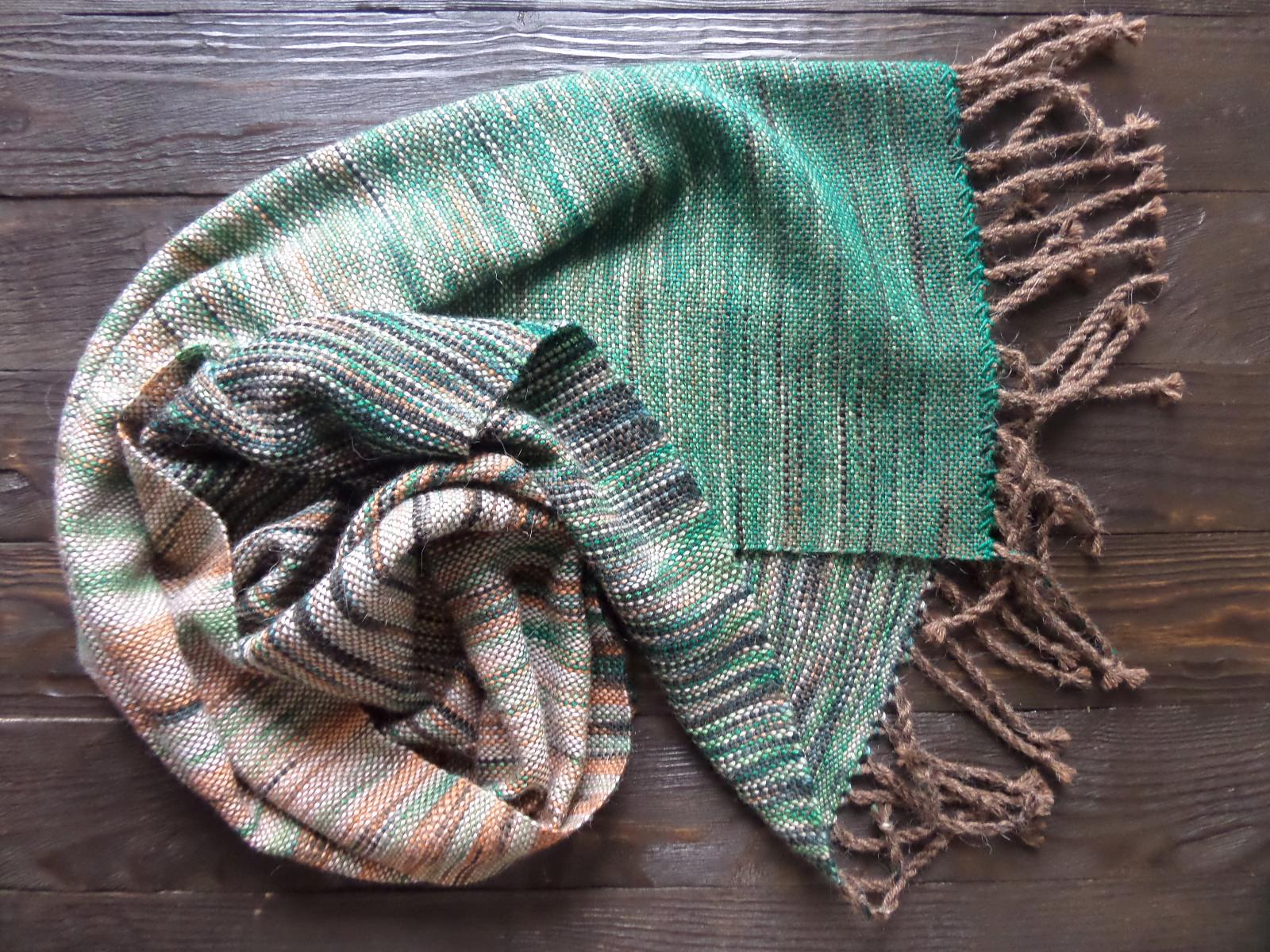 Scarf hand weaving green-brown - tkanye sharfy 316