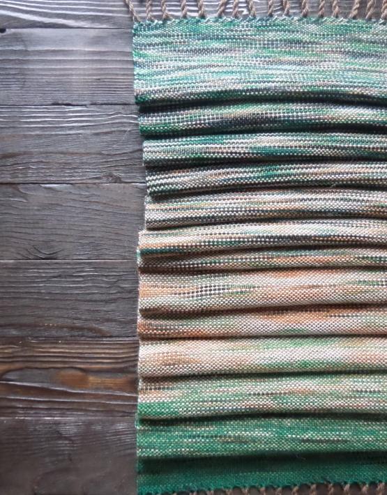 Scarf hand weaving green-brown - tkanye sharfy 317 555x710
