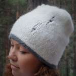 Set of hat and cowl dark gray color - tkanye sharfy 386 150x150