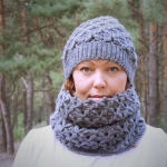 Set of hat and cowl gray color - tkanye sharfy 411 150x150