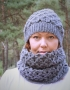 Set of hat and cowl dark gray color - tkanye sharfy 411 70x90