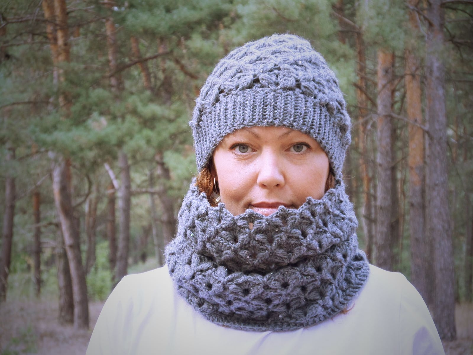 Set of hat and cowl dark gray color - tkanye sharfy 411
