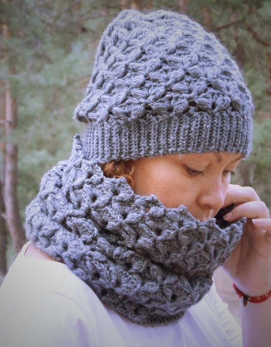 Set of hat and cowl dark gray color - tkanye sharfy 412 555x710