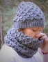 Set of hat and cowl dark gray color - tkanye sharfy 412 70x90