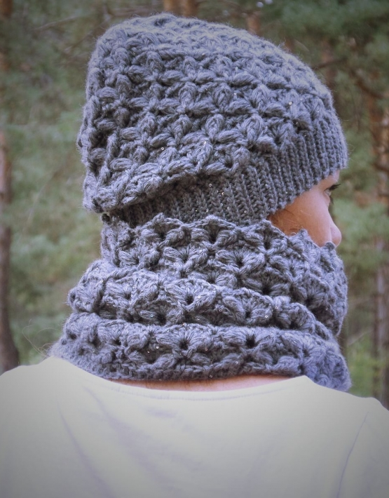 Set of hat and cowl dark gray color - tkanye sharfy 413 555x710