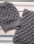 Set of hat and cowl dark gray color - tkanye sharfy 415 70x90