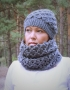 Set of hat and cowl dark gray color - tkanye sharfy 416 70x90