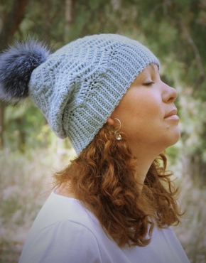 Light blue woolen hat - tkanye sharfy 418 290x370