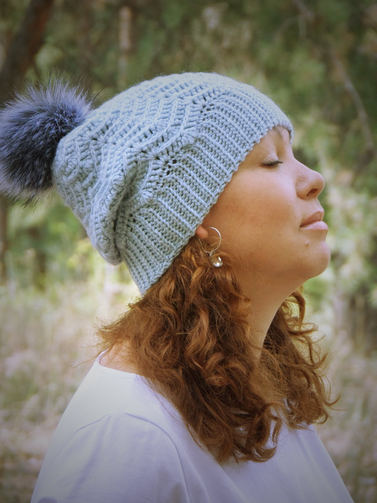 Light blue woolen hat - tkanye sharfy 418