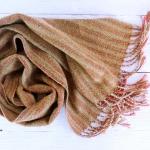 Scarf hand weaving green-brown - tkanye sharfy 443 150x150